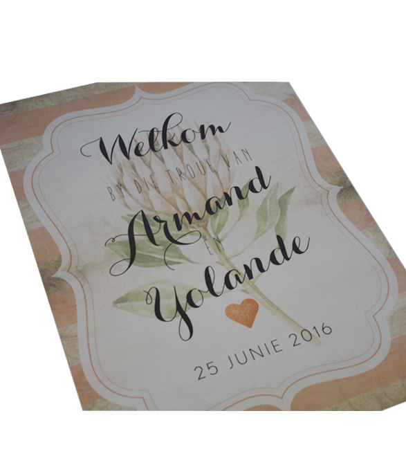 Blushing Bride Welcome sign