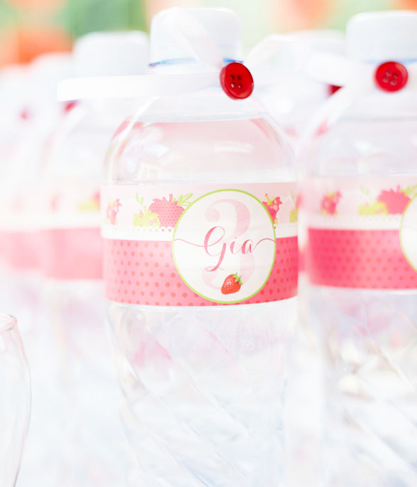 Strawberry Party Water Bottle sticker
