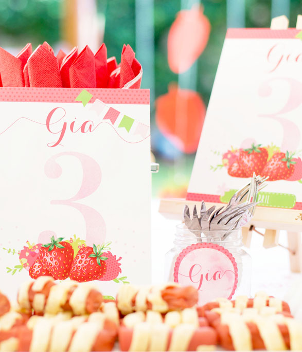 Strawberry Party Table number
