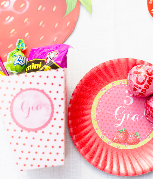 Strawberry Party Paper Plate Stickers