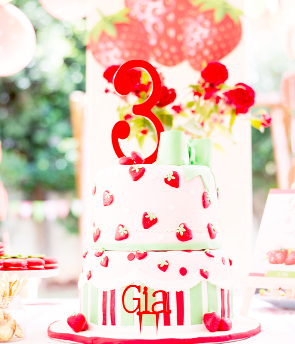 Strawberry Party Cake Topper