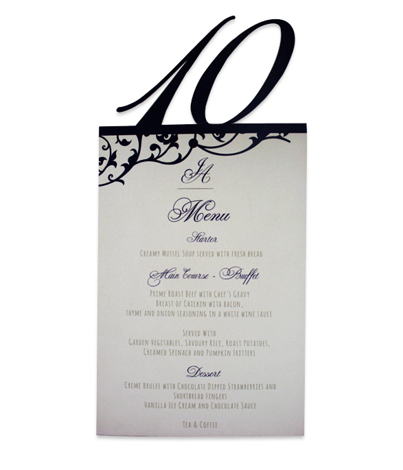 Fairytale Forest Menu/Table number