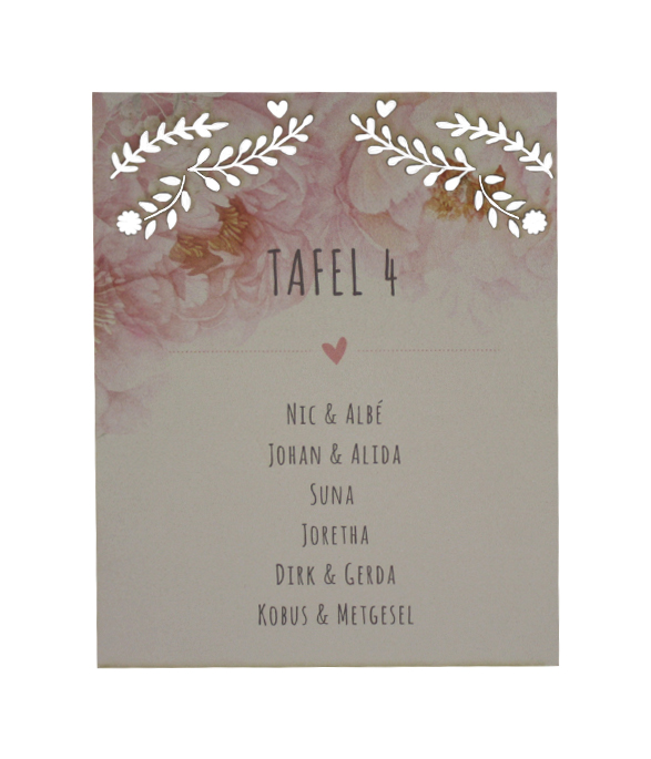 Pink Tulip Table seating cards