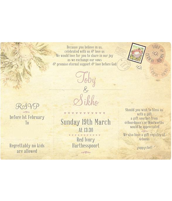 Yellow Protea E-Invite2